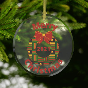 2021 Kente Christmas Wreath Glass Ornament