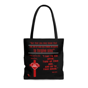 Red Letters To Forgive Sins tote bag