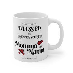 Blessed and Highly Favored Momma and Nanna 11 oz Christian gift mug white with red and black ladybugs