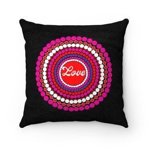Love Dots Faux Suede Square Pillow