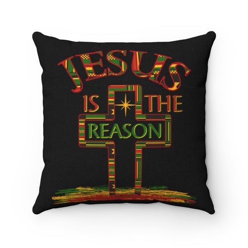 Jesus Is The Reason Kente Cross Throw Pillow