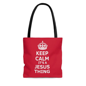 Keep Calm It's A Jesus Thing Crown Tote- red