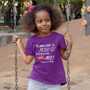 Oh, How I love Jesus kids purple t-shirt with red heart and musical notes.