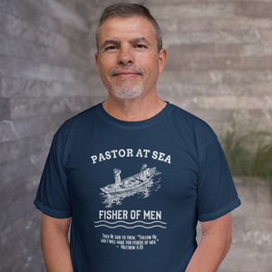 Pastor At Sea Fisher of Men Navy Christian T-shirt