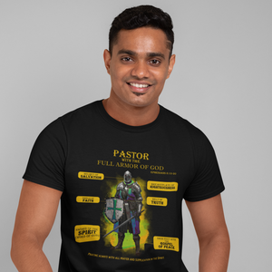 Pastor With The Full Armor of God Christian T-shirt in Black with warrior image