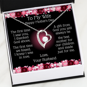 Heart Necklace | To My Wife, Best Mother To Our Children Message Card