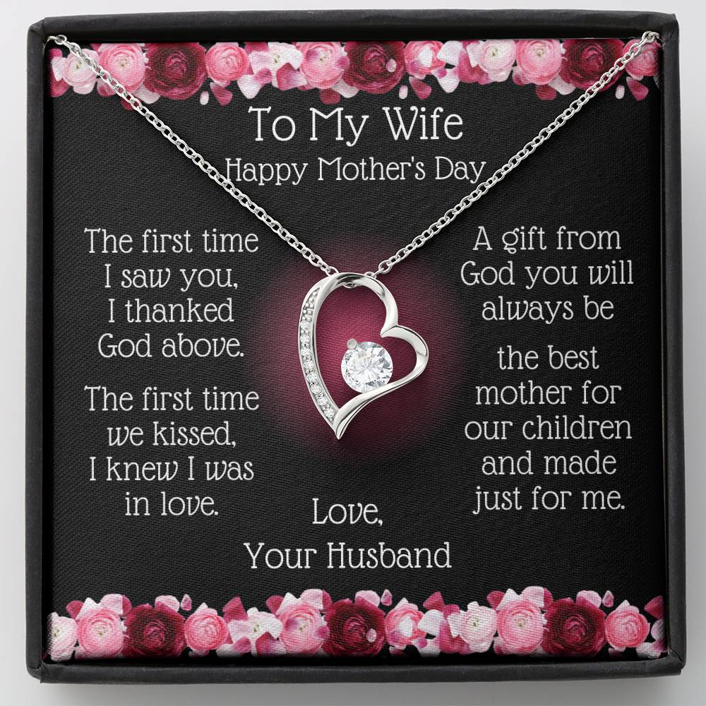 Heart Necklace -To My Wife Mother's Day - Best Mother Message Card