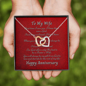 Pastor's Wife Anniversary double heart necklace