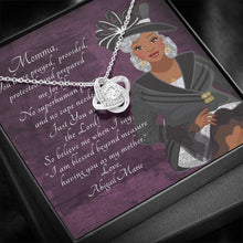 Load image into Gallery viewer, Love Knot Necklace - Personalized African American Mother's Day Message Card - You Prayed