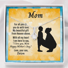 Load image into Gallery viewer, Ribbon Necklace For Mother's Day With Message Card From Young Son