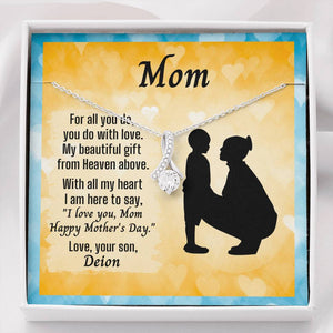 Ribbon Necklace For Mother's Day With Message Card From Young Son