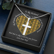 Load image into Gallery viewer, Valentine-Husband-Cross-Necklace-Kente-Heart-Bible