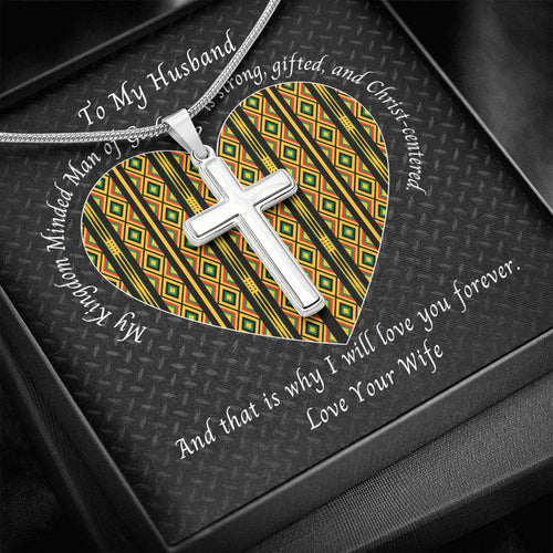 Christ-Centered Husband Valentine's Cross Necklace With Kente Heart Card