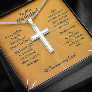 Cross Necklace - To Husband Beyond Measure Message Card