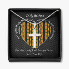 Load image into Gallery viewer, Valentine-Husband-Cross-Necklace-Kente-Heart