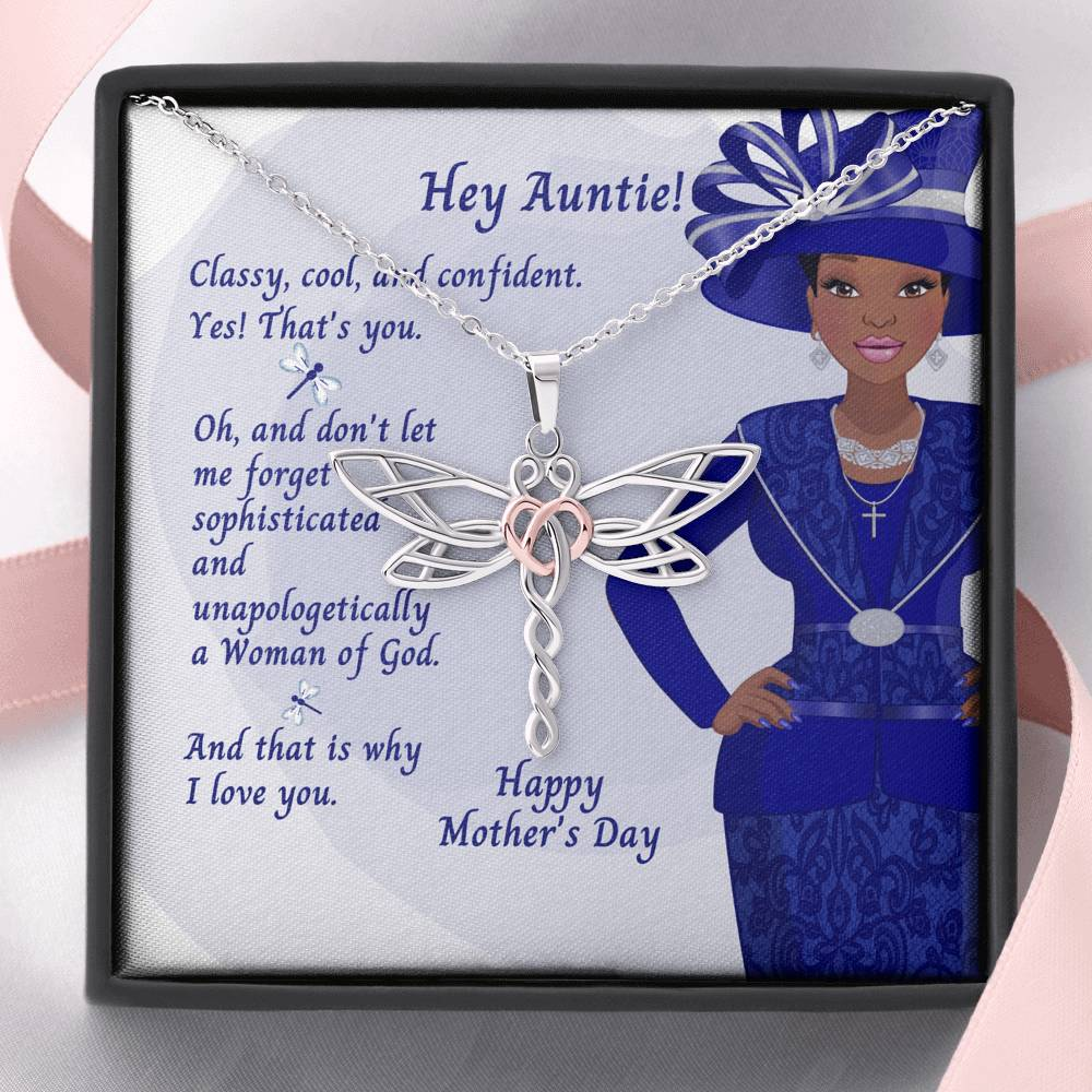 Dragonfly Necklace With African American Mother's Day Card - Hey Auntie