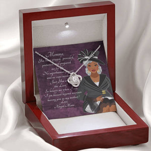 Love Knot Necklace - Personalized African American Mother's Day Message Card - You Prayed