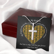 Load image into Gallery viewer, Valentine-Husband-Cross-Necklace-Kente-Heart-Mahogany-Box