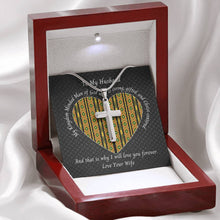 Load image into Gallery viewer, Valentine-Husband-Cross-Necklace-Kente-Heart-Mahogany-Box-Open