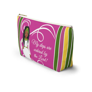 African American Accessory Bag - My Steps Are Ordered By The Lord, Christian Faith Inspired Pouch