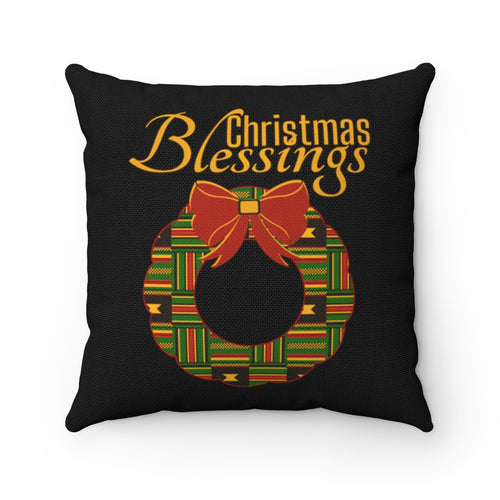 Kente Wreath Christmas Blessings Throw Pillow