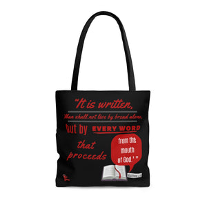 Red Letters Tote Bag - Matthew 4:4
