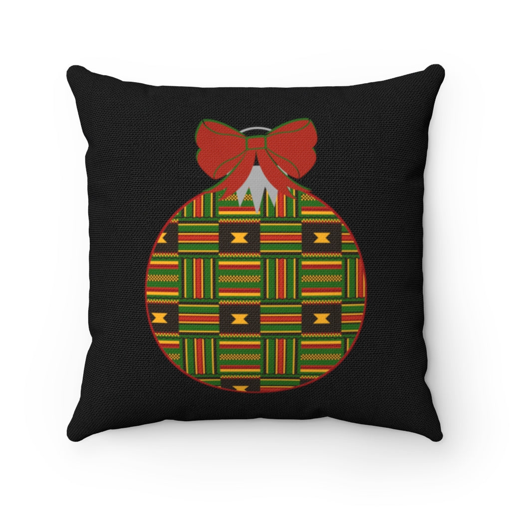 Kente Christmas Ornament Throw Pillow