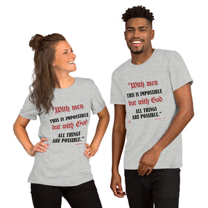 Red Letters - With God - Matthew 19:26 T-Shirt