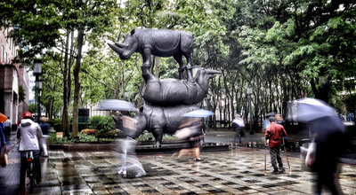 17-foot stacked, bronze rhino sculpture finds new home in Downtown Brooklyn