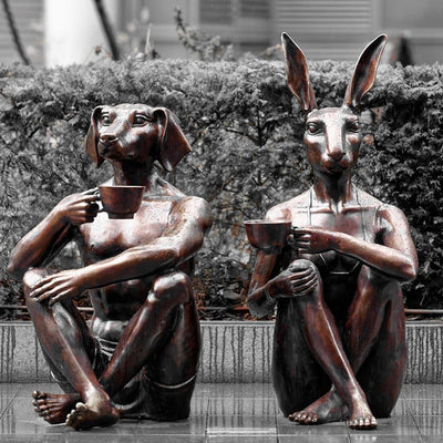 Rabbitwoman and Dogman drinking Coffee - Spitalfields, London, UK
