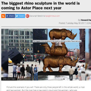 The biggest rhino sculpture in the world is coming to Astor Place next year