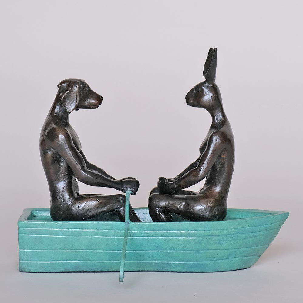 They rowed, rowed, rowed their boat (Bronze Sculpture, Miniature Collection)