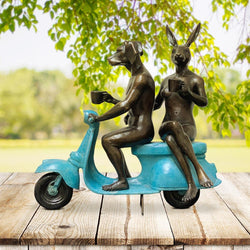 They loved coffee, riding and each other (Bronze Sculpture)