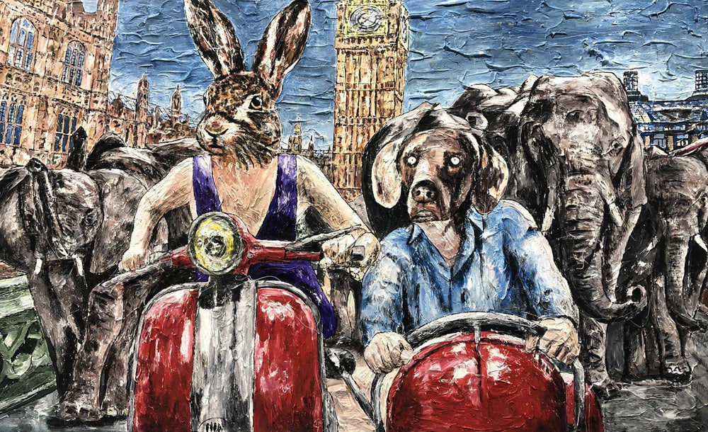 Rabbitwoman and Dogman had heard London was a zoo but the truth was it is a special place for elephants (Print)