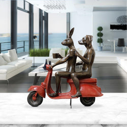 Their morning ride started with coffee and a kiss (Bronze Sculpture)