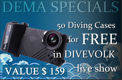 DEMA Specials - 50 demo units worth $159/unit as gift in DIVEVOLK live show and the opportunity to join our affiliate program!