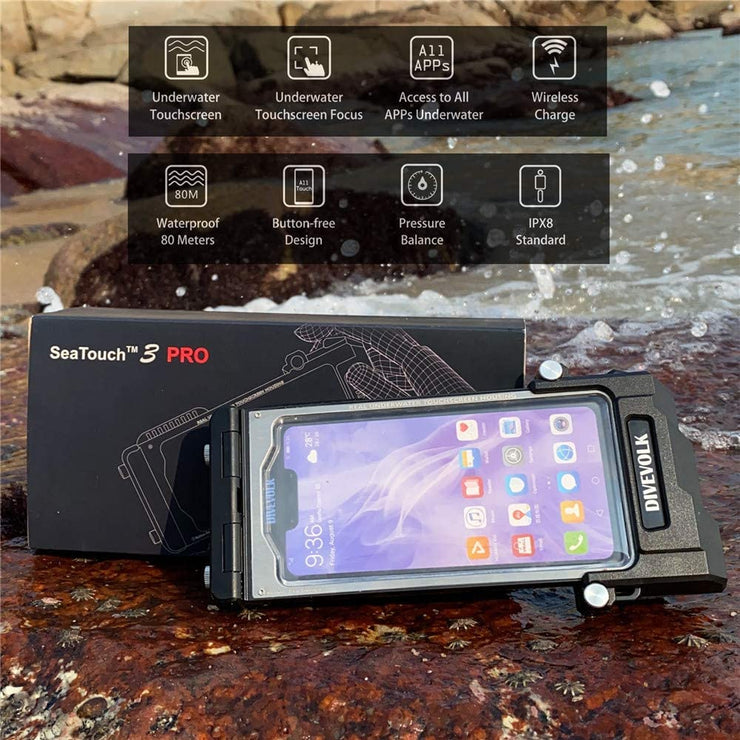 DIVEVOLK SeaTouch 3 PRO Duel Lens Kit Wide Angle and Macro photography/ phone diving housing for iPhone  / Huawei  / Samsung
