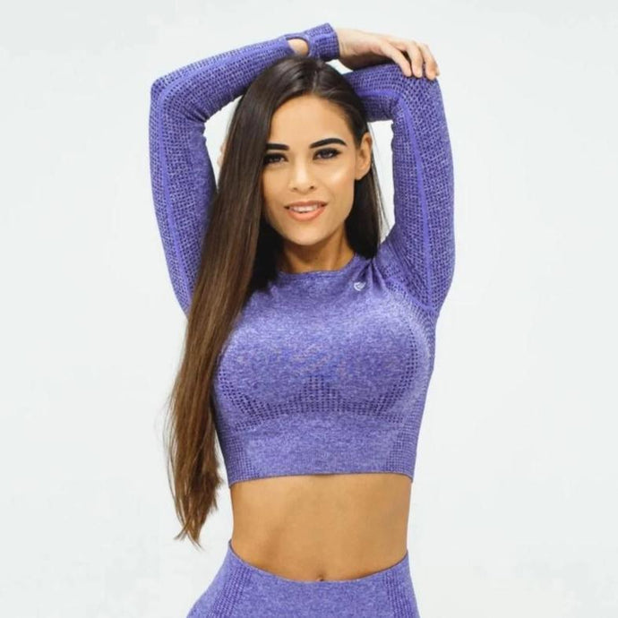 Flex Seamless Long Sleeve Crop - Purple