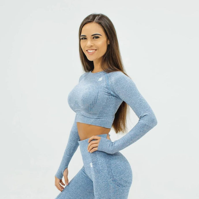 Flex Seamless Long Sleeve Crop - Gray