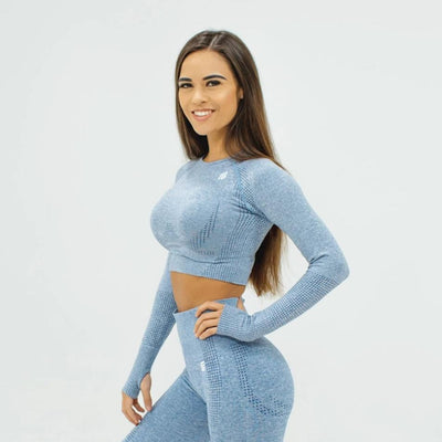 Flex Seamless Crop|Gray - Fitness Elite