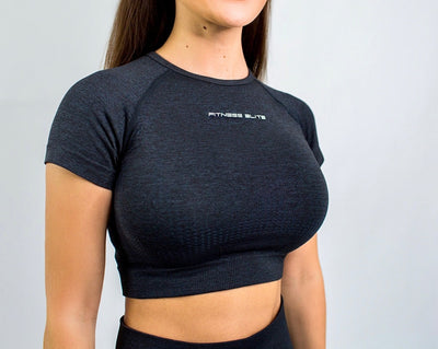 Flex Seamless Crop Shirt|Black