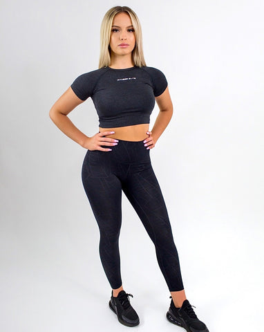 Elite Seamless 7/8 Leggings|Black Geo