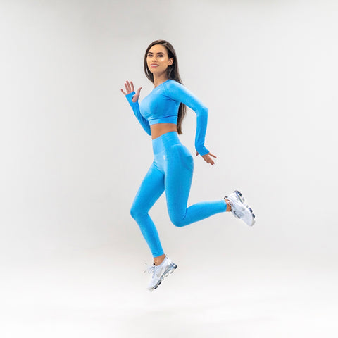 Flex Seamless Leggings|Blue - Fitness Elite
