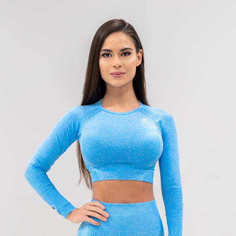 Flex Seamless Crop|Blue - Fitness Elite