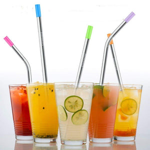 Set of 4 Stainless Steel Straws, Silicone Tips, Cleaning Brush, Black Drawstring Bag.