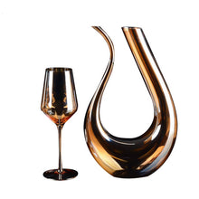 Load image into Gallery viewer, U-shaped Golden 1500ml/0.39gal Red Wine Aerator Decanter With 4x Golden Wine Goblet Glasses 100% Lead Free  *** FREE SHIPPING USA/EU/UK/AUS ***