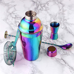8Pcs Rainbow Color 750ml or 500ml Stainless Bar Cocktail Shaker & Accessories Barware Set  *** FREE SHIPPING USA/EU/UK/AUS ***