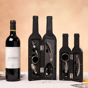Wine Bar Tools in Wine Bottle Shaped Case - Black 3pcs and Black or Red 5pcs case *** FREE SHIPPING USA/EU/UK/AUS ***