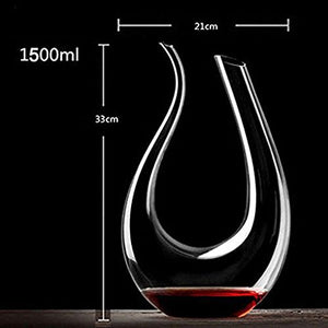 U-shaped 1500ml/0.39gal Classic Red Wine Aerator Decanter 100% Lead-free Crystal Glass.  *** FREE SHIPPING USA/EU/UK/AUS ***
