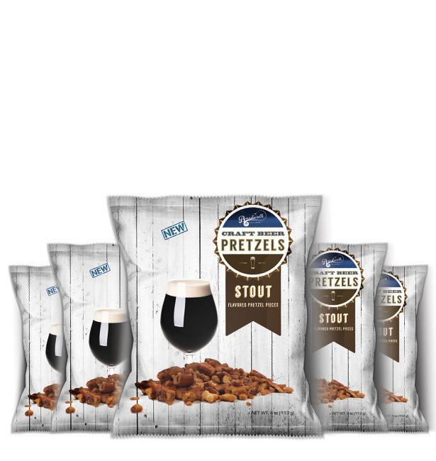 STOUT SNACK PACK BEER PRETZELS 4OZ (PACK OF 6)